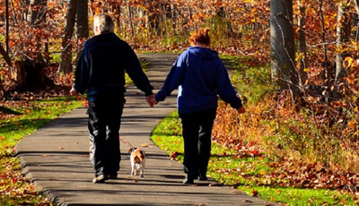 Couple Walking Dog on Beartown Lakes Reservation Trails
