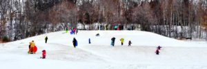 Adults and Children Sledding in Geauga Park