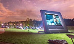 People Watching Outdoor Movie at Geauga County Park